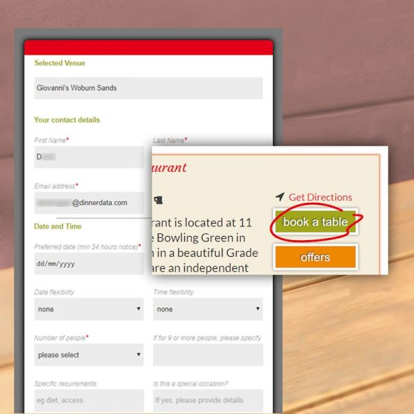 image of DinnerData online table booking